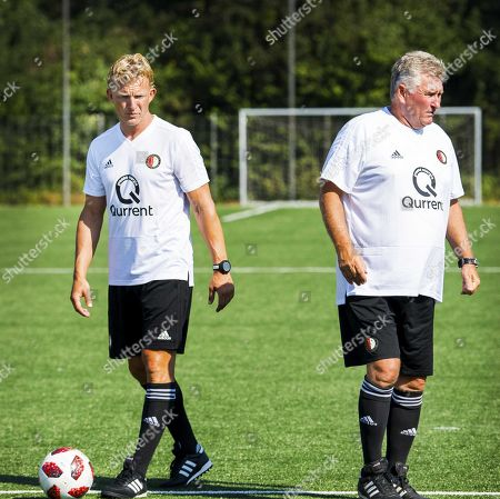 Dirk Kuyt (L) and assistant Co Adriaanse (R) lead a training session of Feyenoord Rotterdam's Under-19 in Rotterdam, The Netherlands, 23 July 2018.