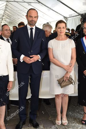 French prime minister Edouard Philippe flanked by Israeli Ambassador to France, Aliza Bin-Noun,