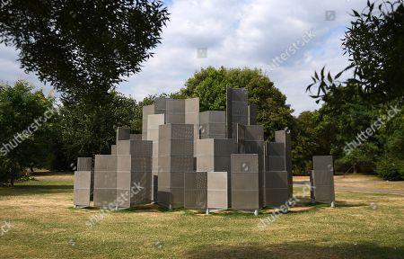 Conrad Shawcross' sculpture 'Optic Labyrinth'  (2018) at the Frieze Sculpture Park 2018 at Regents Park in London, Britain, 23 July 2018. The sculpture park runs until 07 October 2018.