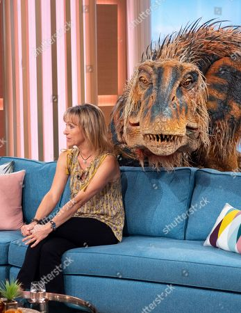 Michaela Strachan and a baby T-rex