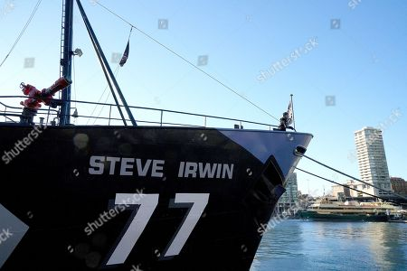 Sea Shepherd's flagship, MY Steve Irwin is seen at Circular Quay ahead of a press conference at the Overseas Passenger Terminal in Sydney, New South Wales, Australia, 21 July 2018. The ship and crew will travel up the East Coast promoting awareness of the impact of the Adani Coal Mine. The ship will be finishing at the Abbot Point Coal Terminal.