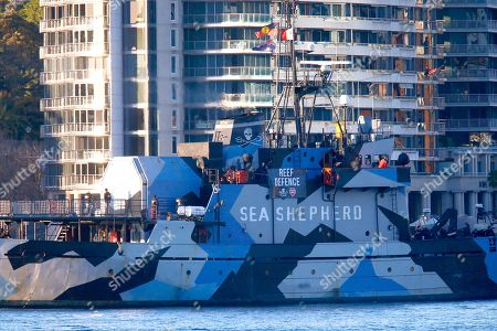 Sea Shepherd's flagship, MY Steve Irwin arrives at Circular Quay ahead of a press conference at the Overseas Passenger Terminal in Sydney, New South Wales, Australia, 21 July 2018. The ship and crew will travel up the East Coast promoting awareness of the impact of the Adani Coal Mine. The ship will be finishing at the Abbot Point Coal Terminal.