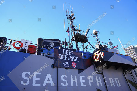 Sea Shepherd's flagship, MY Steve Irwin docks at Circular Quay ahead of a press conference at the Overseas Passenger Terminal in Sydney, New South Wales, Australia, 21 July 2018. The ship and crew will travel up the East Coast promoting awareness of the impact of the Adani Coal Mine. The ship will be finishing at the Abbot Point Coal Terminal.