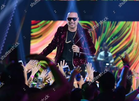 Stock Image of Jacob Forever performs on stage at Univision's Premios Juventud 2018 at Watsco Center