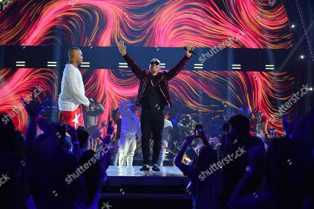 Stock Photo of Taiger and Jacob Forever performs on stage at Univision's Premios Juventud 2018 at Watsco Center