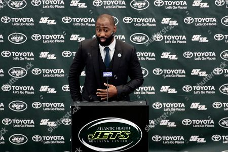 Stock Picture of Former New York Jets cornerback Darrelle Revis speaks during a news conference officially announcing his retirement from NFL football, in Florham Park, N.J. Revis leaves behind an 11-season career that included four All-Pro selections an a Super Bowl win with the New England Patriots