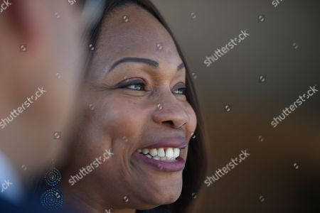 French sports minister Laura Flessel smiles at the Federal Equestrian Park of Lamotte Beuvron