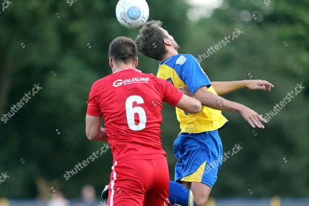 George Elokobi of Leyton Orient and Sam Merson of St Albans City during St Albans City vs Leyton Orient, Friendly Match Football at Clarence Park on 24th July 2018