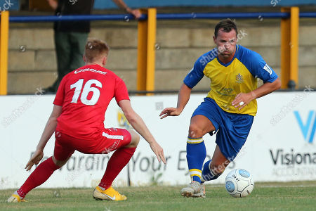 George Elokobi of Leyton Orient and  Ben Herd of St Albans City during St Albans City vs Leyton Orient, Friendly Match Football at Clarence Park on 24th July 2018