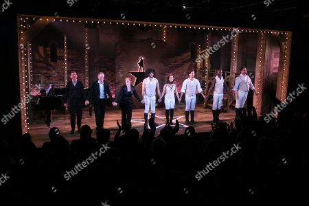 Simon Beck (Musical Director), Damian Humbley (Cast), Sophie-Louise Dann (Cast), Jason Denton (Cast), Julie Yammanee (Cast), Liam Tamne (Cast), Eddie Elliott (Cast) and Marc Akinfolarin (Cast) during the curtain call