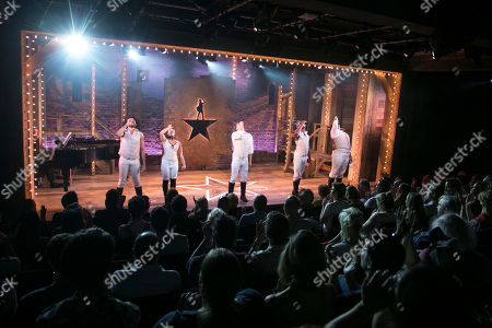 Jason Denton (Cast), Julie Yammanee (Cast), Liam Tamne (Cast), Eddie Elliott (Cast) and Marc Akinfolarin (Cast) during the curtain call