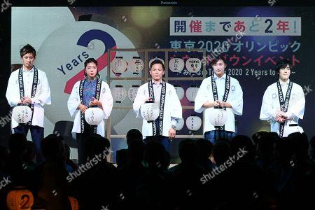 (L-R) Kenji Fujimitsu, Miho Nonaka, Tadahiro Nomura, Rikako Ikee, Ryohei Kato