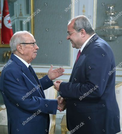 Israeli-Arab member of the Knesset Ahmad Tibi meets with Tunisian President Beji Caid Essebsi (L) in Carthage Palace in Tunis