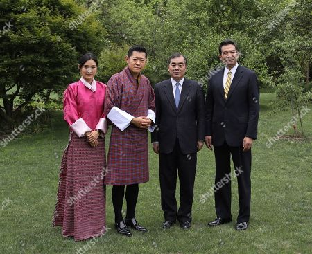 Bhutan King Jigme Khesar Namgyel Wangchuck and Majesty Queen Jetsun Pema Wangchuck during an audience with Vice Foreign Minister of China, His Excellency Mr. Kong Xuanyou
