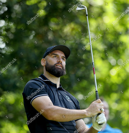 Leinster's Scott Fardy in action at the Rugby Players Ireland Annual Golf Classic at Druids Glen Hotel & Golf Resort