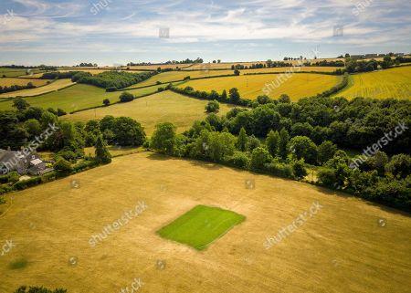 Editorial image of Aerial view of Priston village Cricket Club near Bath, Somerset, UK - 25 Jul 2018