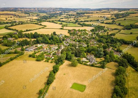 Stock Image of Aerial view of Priston village Cricket Club, which has been watered and maintained during the ongoing hot weather that is covering the UK. Britain is on the brink of its hottest summer in 400 years with the savage hot weather engulfing the UK