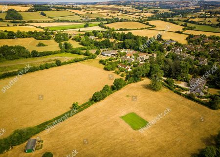 Editorial picture of Aerial view of Priston village Cricket Club near Bath, Somerset, UK - 25 Jul 2018