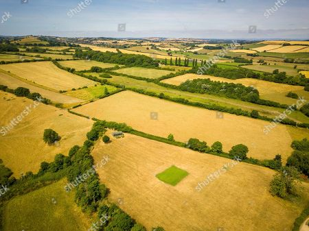 Aerial view of Priston village Cricket Club, which has been watered and maintained during the ongoing hot weather that is covering the UK. Britain is on the brink of its hottest summer in 400 years with the savage hot weather engulfing the UK