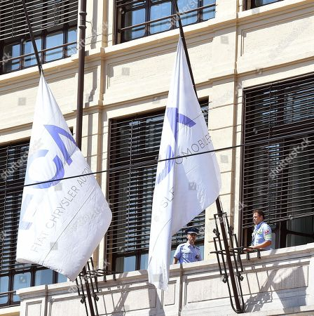 FCA flags are flown at half-mast as Fiat Chrisler Automobiles (FCA) is mourning death of its former CEO Sergio Marchionne, at the FCA headquaters in Turin, Italy, 25 July 2018. According to reports, Marchionne died on 25 July 2018 in a Zurich hospital following a surgery and suffering complications.