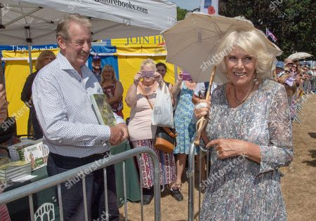 Camilla Duchess of Cornwall visits the Sandringham Flower Show where she met exhibitors and members of the public including actor John Challis who played 'Boycie' in 'Only Fools and Horses'
