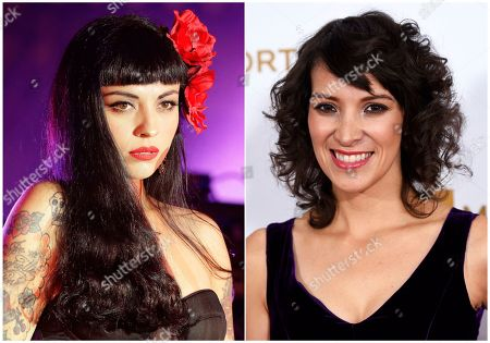 """Chilean singer Mon Laferte performs at the Latin Grammy Acoustic Session in Mexico City, left, and Gaby Moreno arrives at the Latin Recording Academy Person of the Year Tribute honoring Marc Anthony in Las Vegas on Nov. 16, 2016. On Thursday, Latin Grammy-winners Mon Laferte and Gaby Moreno, with the late Tejano star's guitarist husband Chris Perez, will perform in a free show in New York dubbed """"Selena for Sanctuary"""", part of the summer festival Lincoln Center Out of Doors"""