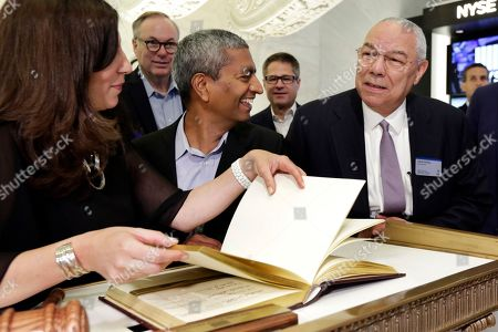 K.R. Sridhar, Colin Powell, Stacey Cunningham. Bloom Energy Founder, President and CEO K.R. Sridhar, center accompanied by board member Colin Powell, right, prepares to sign the New York Stock Exchange guest book with NYSE President Stacey Cunningham before their IPO
