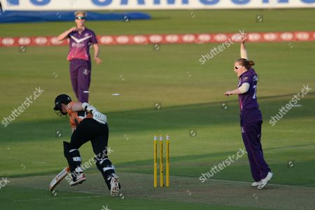 Arran Brindle of Southern Vipers is run out by Elyse Villani   during the Women's Cricket Super League match between Southern Vipers and Loughborough Lightning at the Ageas Bowl, Southampton. Picture by Dave Vokes
