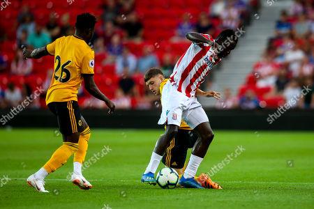 Elliot Watt of Wolverhampton Wanderers tackles Mame Biram Diouf of Stoke City