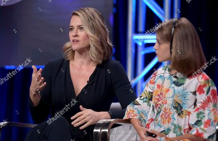 """Stock Photo of Jennifer Schuur, Elisa Del Genio. Executive producer Jennifer Schuur, from left, Elisa Del Genio, Ludovica Nasti, director Saverio Costanzo, Gaia Girace, Margherita Mazzucco and executive producer Lorenzo Mieli participate in the """"My Brilliant Friend"""" panel during the HBO Television Critics Association Summer Press Tour at The Beverly Hilton hotel, in Beverly Hills, Calif"""