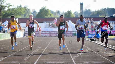 (L-R) Chad Miller,  Britain, Henrik Larsson, Sweden, Asuka Cambridge, Japan, Deji Tobais, Great Britain and Edel Rogelio Amores, Cuba, compete during the men's 100m event at the Folksam Grand Prix Karlstad at Tingvalla IP in Karlstad, Sweden, on July 25, 2018. Cambridge won the race.