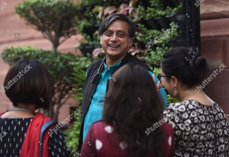 Senior Congress leader Shashi Tharoor during the Monsoon session of Parliament at Parliament house'