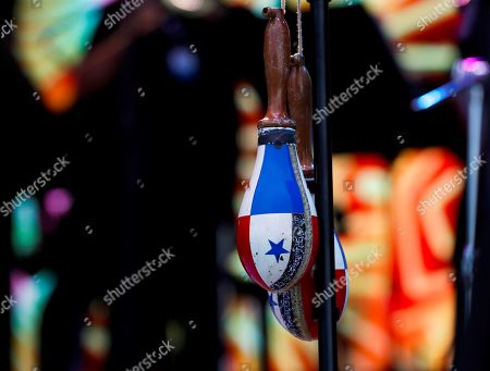 A view of Panamanian singer Ruben Blades' maracas on stage during the opening day of the 53rd edition of the Jazzaldia Festival in San Sebastian, Basque Country, northern Spain, 25 July 2018. The Jazzaldia festival runs from 25 July until 29 July 2018.