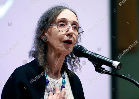 This is a photograph of American author Joyce Carol Oates, photographed at Millsaps College in Jackson, Miss. Oates, published her first book in 1962. And has since published over 40 novels, as well as plays and novellas, short stories, poetry, and nonfiction