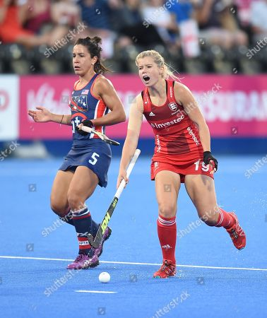 Sophie Bray of England reacts after a collision with Melissa Gonzalez of USA