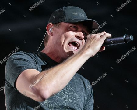 Stock Picture of Brad Arnold performs in concert with 3 Doors Down at HEB Center on July 18, 2018 in Cedar Park, Texas.