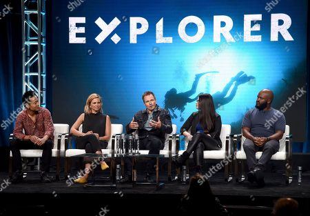 "Albert Lin, Mariana Van Zeller, Phil Keoghan, Cara Santa Maria, Sal Masekela. Albert Lin, from left, Mariana Van Zeller, Phil Keoghan, Cara Santa Maria and Sal Masekela participate in the ""Explorer"" panel during the National Geographic Television Critics Association Summer Press Tour at The Beverly Hilton hotel, in Beverly Hills, Calif"