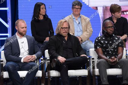 "Tracy Barone, Tara Hernandez, John Karna, Oliver Cooper, Dakota Shapiro, Stephan Paternot, Joel Ehninger, Matthew Carnahan, Lamorne Morris, Bradley Whitford, Steve Zahn, Arianna Huffington, Jada Miranda. Show writer Tracy Barone, from back row left, Tara Hernandez, John Karna, and from front row left, co-executive producer Joel Ehninger, showrunner/director/writer Matthew Carnahan and Lamorne Morris participate in the ""Valley of the Boom"" panel during the National Geographic Television Critics Association Summer Press Tour at The Beverly Hilton hotel, in Beverly Hills, Calif"