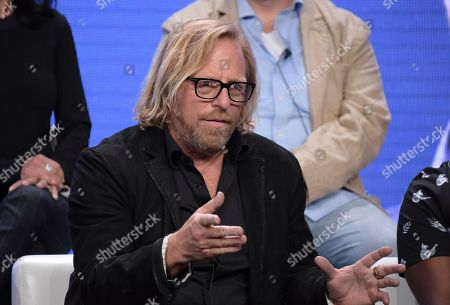 """Showrunner/director/writer Matthew Carnahan participates in the """"Valley of the Boom"""" panel during the National Geographic Television Critics Association Summer Press Tour at The Beverly Hilton hotel, in Beverly Hills, Calif"""