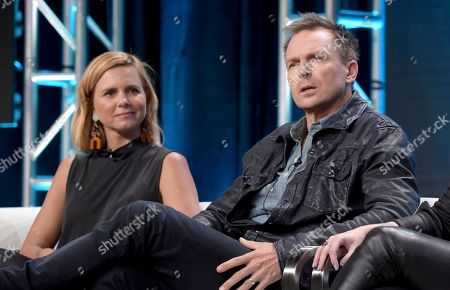 """Mariana Van Zeller, Phil Keoghan. Mariana Van Zeller, left, and Phil Keoghan participate in the """"Explorer"""" panel during the National Geographic Television Critics Association Summer Press Tour at The Beverly Hilton hotel, in Beverly Hills, Calif"""