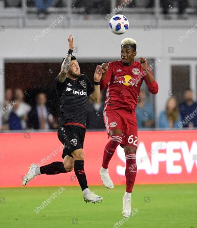 D.C. United forward Paul Arriola, left, competes for the ball against New York Red Bulls defender Michael Amir Murillo (62) during the first half of an MLS soccer match, in Washington
