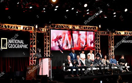 Stock Photo of Leland Melvin, Jihae, Jeff Hephner, Dr. Mae Jemison, Stephen Petranek, Casey Dreier, Justin Wilkes, Ron Howard, Dee Johnson, Esai Morales and Antonia Juhasz