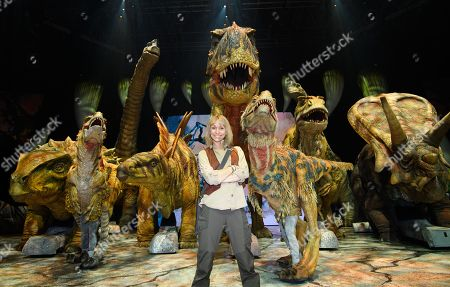 Michaela Strachan with the Dinosaurs cast