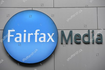 Stock Picture of Fairfax Media signage outside the Fairfax Media offices in Sydney, Australia, 26 July 2018. Fairfax Media CEO Greg Hywood spoke to Fairfax staff regarding the merger announcement between Fairfax and Nine.