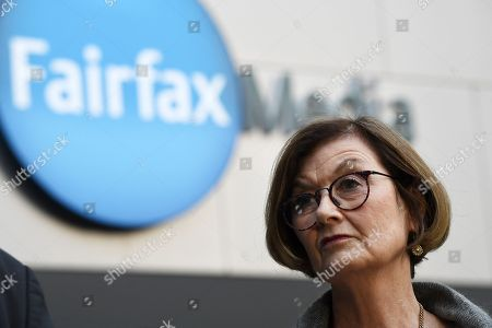 Sydney Morning Herald investigative journalist Kate McClymont speaks to the media outside the Fairfax Media offices in Sydney, Australia, 26 July 2018. Fairfax Media CEO Greg Hywood spoke to Fairfax staff regarding the merger announcement between Fairfax and Nine.