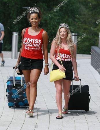#21 Jade Rice Alor Miss SouthWest 2018, 25 Jessica Rose Lidstone Miss Devon 2018 arriving at the Miss England Finals part 1