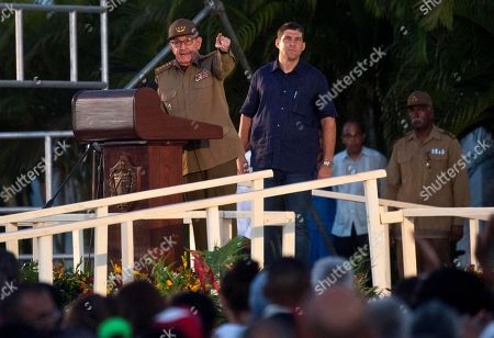 Raul Castro, Guillermo Rodriguez Castro. Flanked by his personal assistant and grandson Guillermo Rodriguez Castro, Cuba's former President Raul Castro speaks at an event celebrating Revolution Day in Santiago, Cuba, . Cuba marks the 65th anniversary of the July 26, 1953 rebel attack led by Fidel and Raul Castro on the Moncada military barracks. The attack is considered the beginning of Fidel Castro's revolution that culminated with dictator Fulgencio Batista's ouster