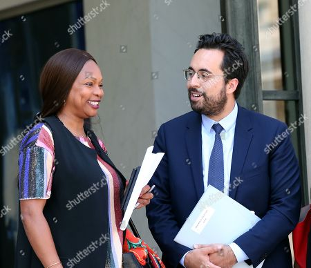 French Sports Minister Laura Flessel and French Junior Minister for the Digital Sector Mounir Mahjoubi (R)