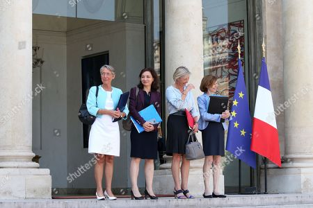 (LtoR) French Transports Minister Elisabeth Borne, French Junior Minister for Economy Delphine Geny-Stephann, French Junior Minister for Disability Issues Sophie Cluzel and French Defence Minister Florence Parly