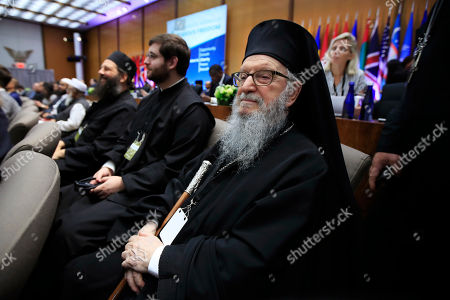 Archbishop Demetrios of America, right, from Greek Orthodox Archdiocese, attends the first-ever Ministerial to Advance Religious Freedom at the State Department in Washington, attended by Vice President Mike Pence and hosted by Secretary of State Mike Pompeo